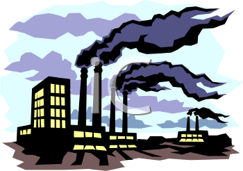 Black Smoke Coming From A Factory   Royalty Free Clipart Picture
