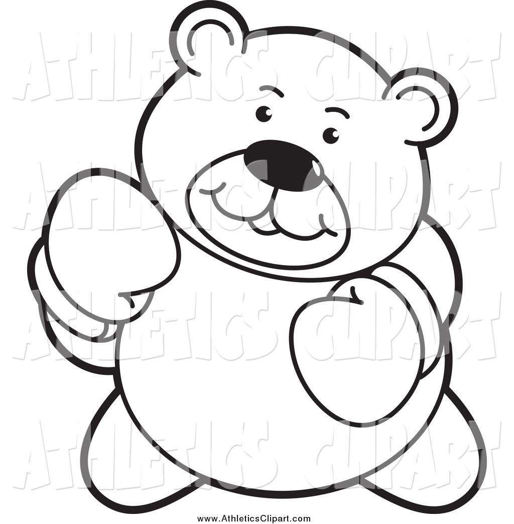 Clip Art Of A Black And White Tough Boxing Teddy Bear By Lal Perera