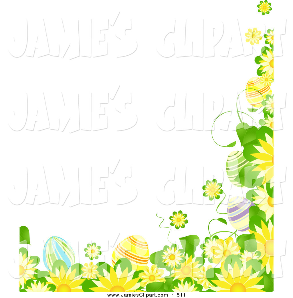 Clip Art Of A Border Of Blooming Yellow Flowers Green Leaves And