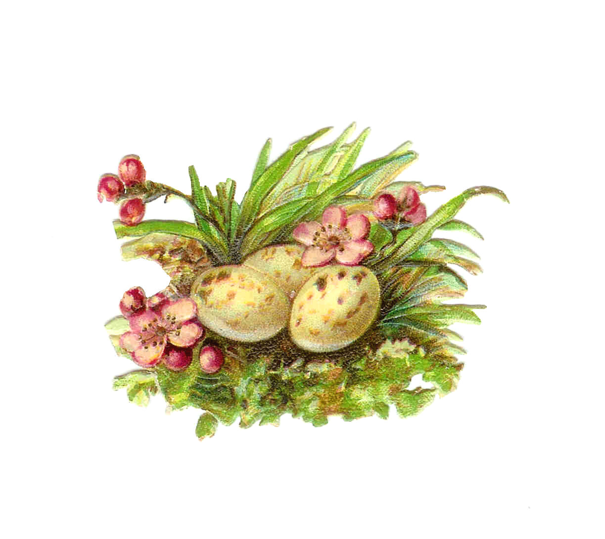 Easter Clip Art  Vintage Victorian Die Cut Of Eggs With Pink Flowers