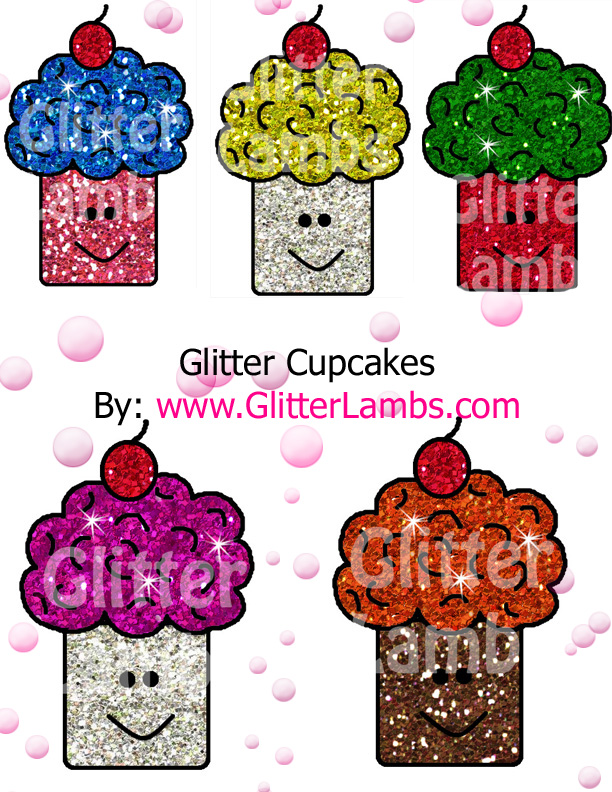 Glitter Lambs  Printable Glitter Cupcakes Clipart Digital Graphics For