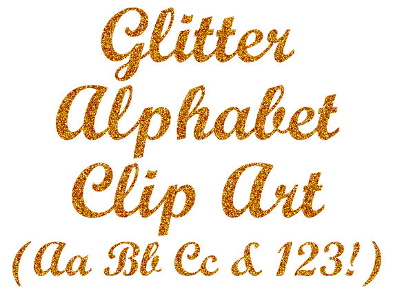 Gold Glitter Alphabet Clipart Digital Glitter Letters Clip Art Gold