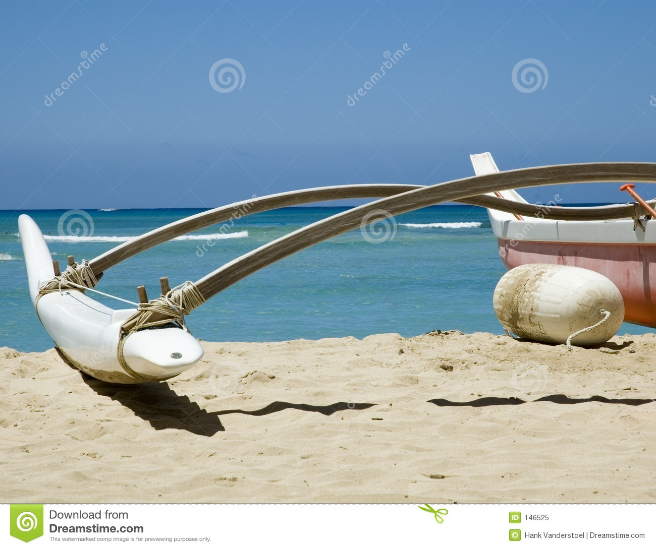 Outrigger Canoe On The Beach With Ocean Background  Location  Honolulu