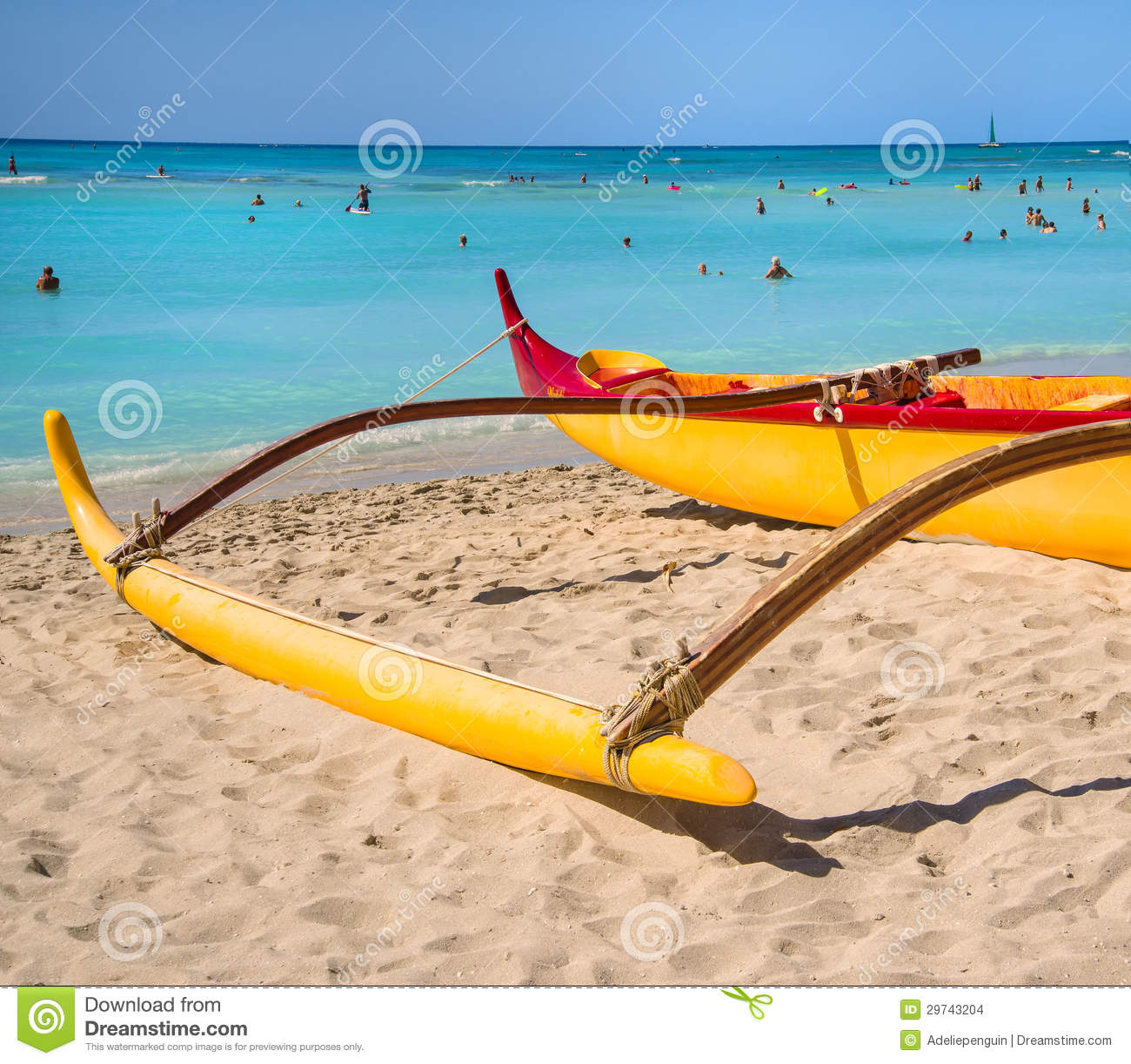 Outrigger Canoe Waikki Beach Oahu Hawaii Editorial Stock Image