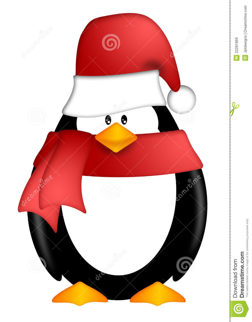 Penguin With Santa Hat And Red Scarf Clipart Royalty Free Stock Images