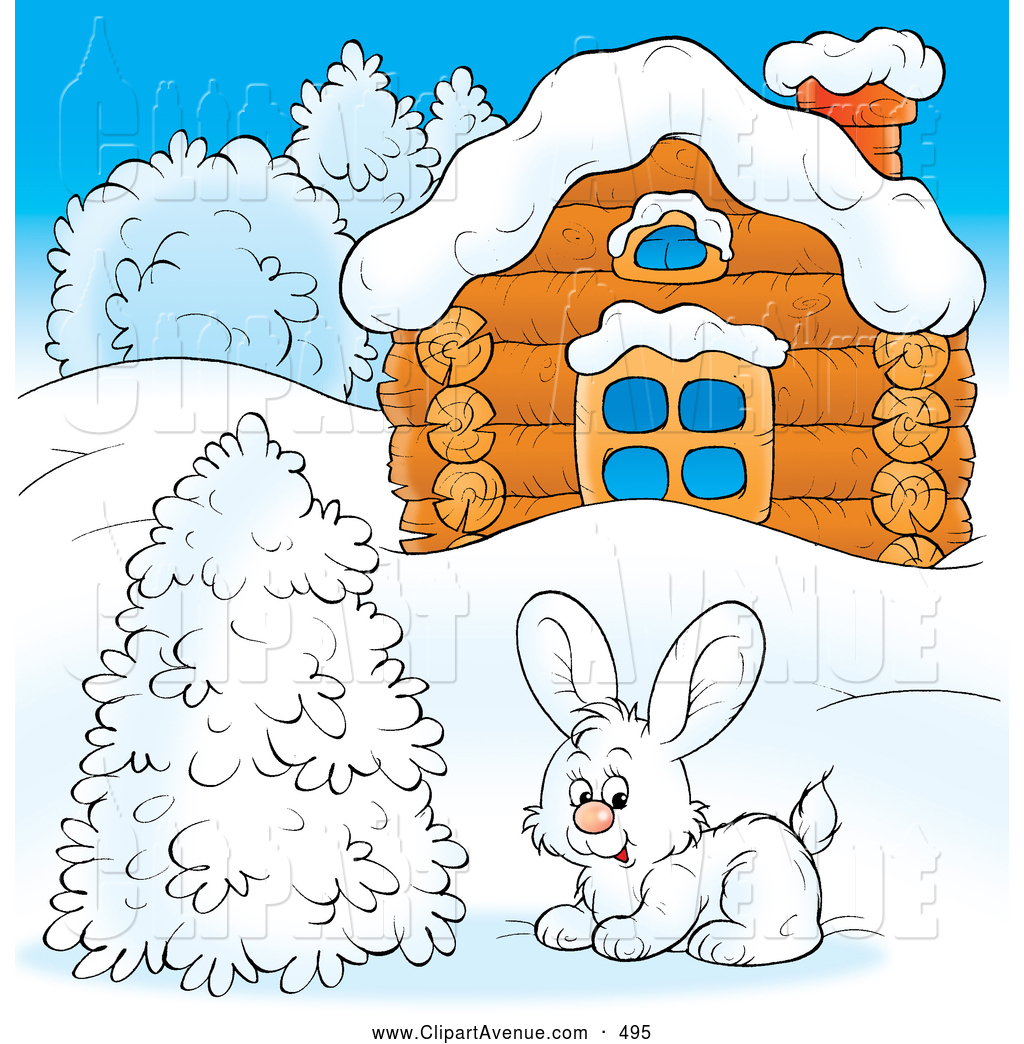 Preview  Avenue Clipart Of A Cold Log Cabin In Winter By Alex Bannykh