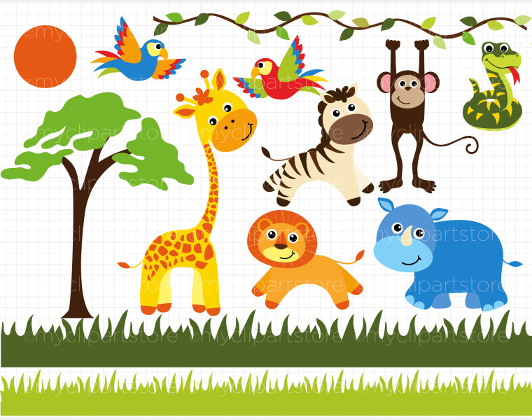 Safari Animal Clipart - Clipart Kid