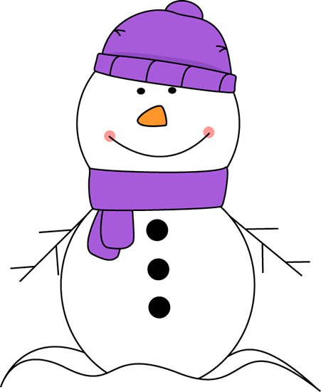 Scarf And Hat Clip Art   Snowman Wearing Purple Scarf And Hat Image