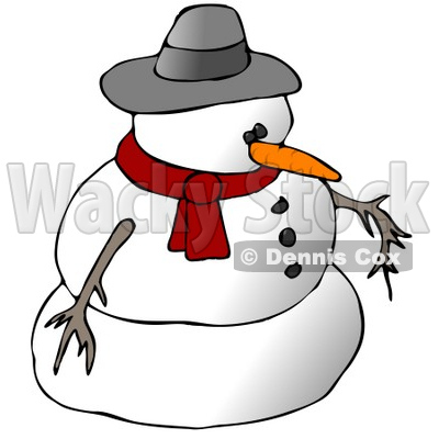 Snowman Wearing A Scarf And Hat Clipart Illustration   Dennis Cox