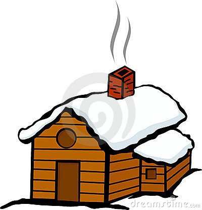 Snowy Cabin Clip Art Winter Cabin House Snow