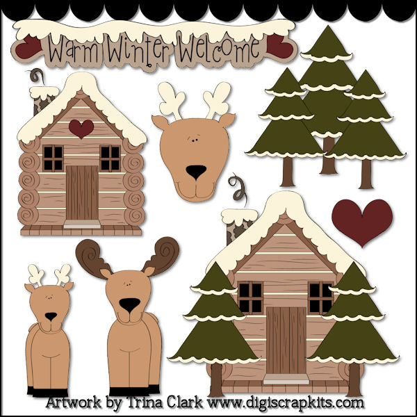 Snowy Log Cabin Clip Art Woodsy Winter 1 Clip Art By