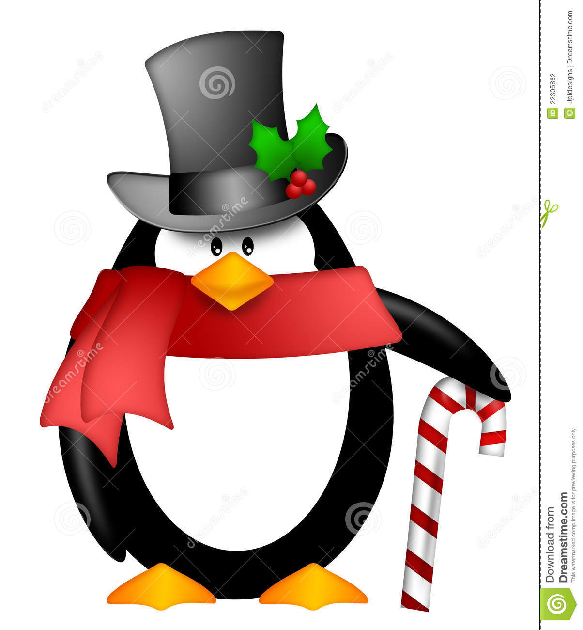 Stock Photography  Penguin Top Hat Red Scarf Candy Cane Clipart