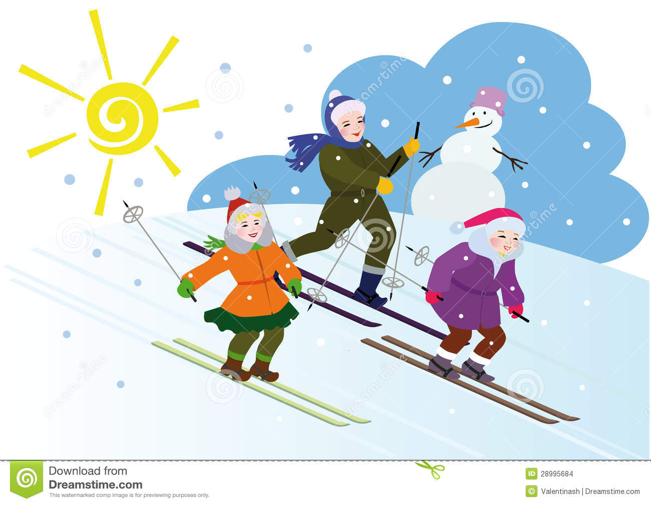 Three Children Ski From The Hill Against The Snowman Falling Snow And
