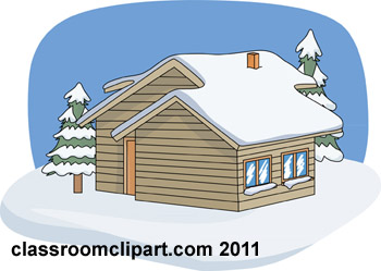 Winter Cabin Snow Trees Jpg