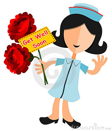 Abstract Nurse Happily Gives Flowers With A Get Well Soon Note