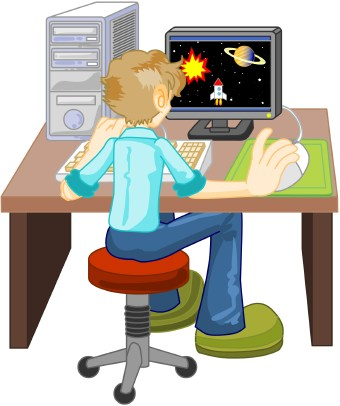 Art Of A Boy Sitting On A Stool At A Desk Using A Desktop Computer