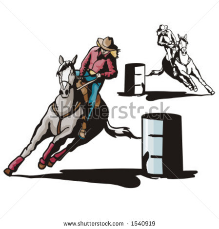 Barrel Racing Silhouette Clip Art A Ladies  Barrel Racing