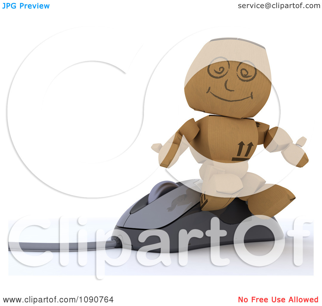 Clipart 3d Cardboard Box Man Sitting On A Computer Mouse   Royalty