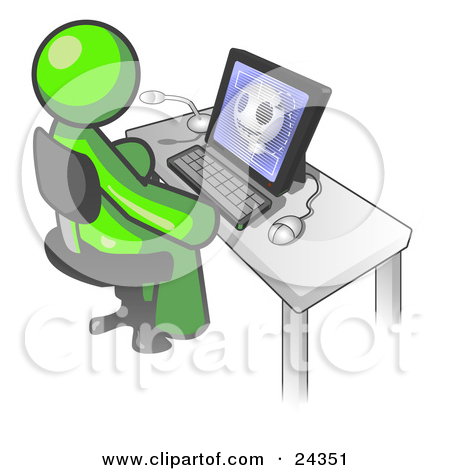 Clipart Illustration Of A Lime Green Doctor Man Sitting At A Computer