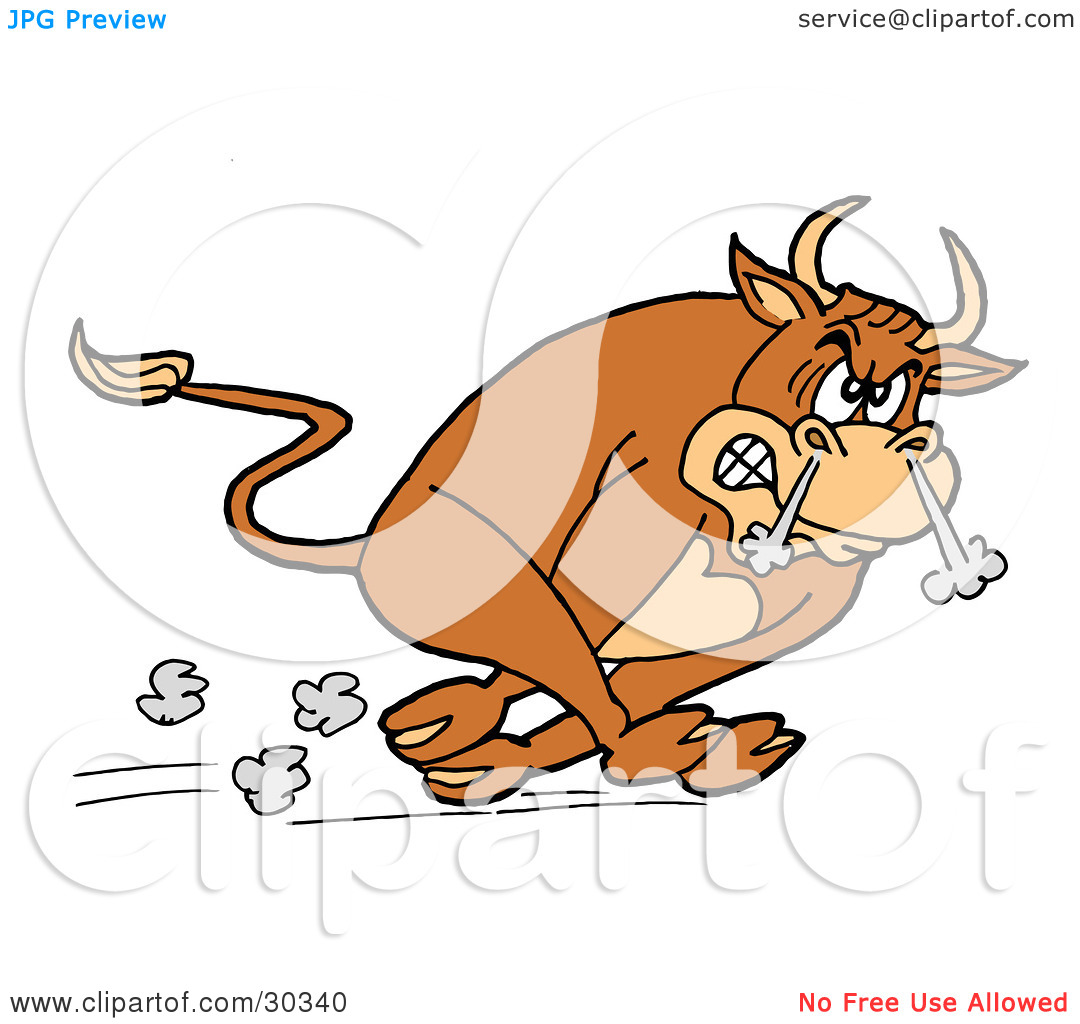 Clipart Illustration Of A Raging Brown Charging Bull Running With