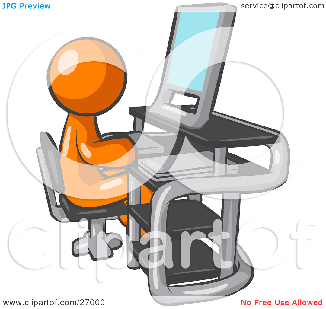 Clipart Illustration Of An Orange Man Sitting At A Desk In Front Of A