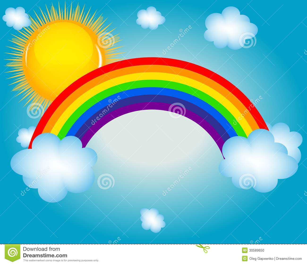 Cloud Sun Rainbow Vector Illustration Background Stock Photo   Image