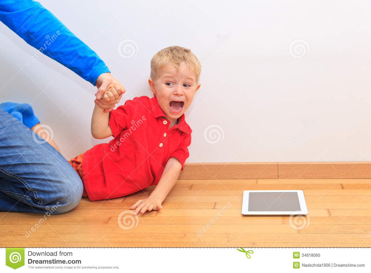 Disobedient Clipart Parent Pulling Child Touch Pad