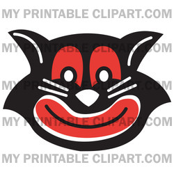 Evil Black Cat With Red Eyes And Mouth Grinning Clipart Illustration