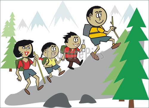 Family Hiking Clipart Happy Family Group Hiking