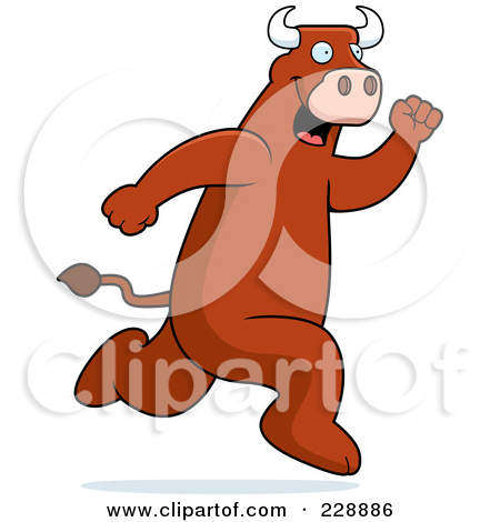 Free  Rf  Clipart Illustration Of A Bull Running By Cory Thoman