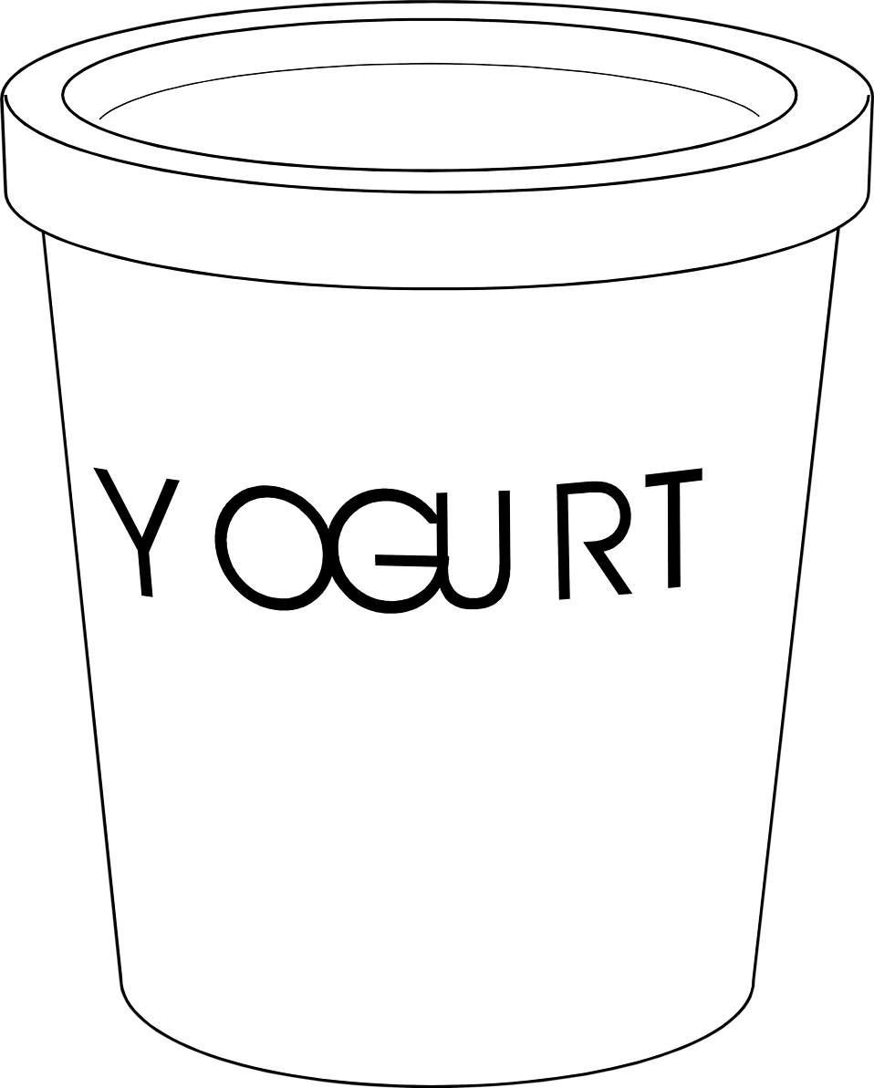 Yogurt black and white clipart clipart suggest for Yogurt coloring page
