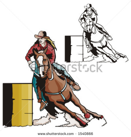 Illustration Of A Ladies  Barrel Racing    1540866   Shutterstock