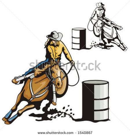 Illustration Of A Ladies  Barrel Racing    1540867   Shutterstock