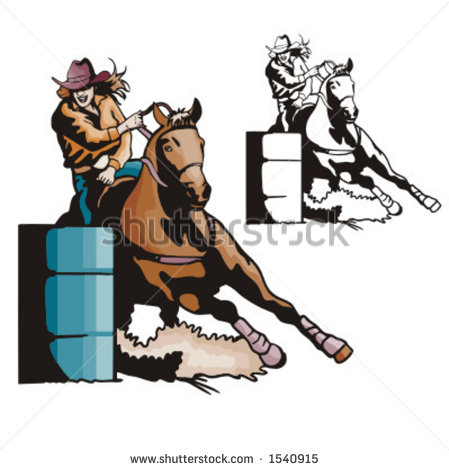 Illustration Of A Ladies  Barrel Racing    1540915   Shutterstock