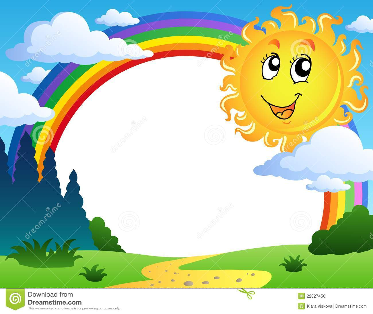 Landscape With Rainbow And Sun 2 Royalty Free Stock Image   Image