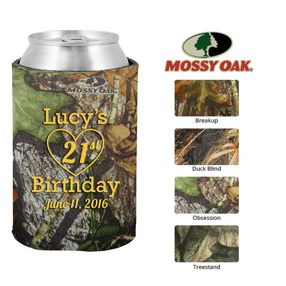 Mossy Oak Birthday Koozies  Clipart 19021  21st With Heart   Personal