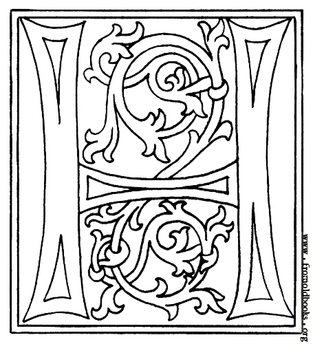 Picture  Clipart  Initial Letter H From Late 15th Century Printed