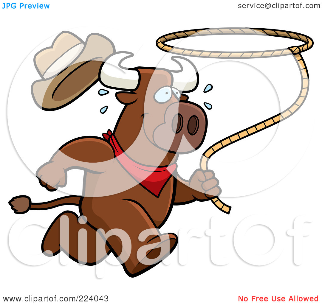 Royalty Free  Rf  Clipart Illustration Of A Running Rodeo Bull With A
