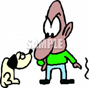 Scolding A Dog For Scratching The Wall   Royalty Free Clipart Picture
