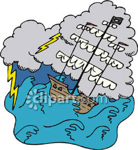 Sinking Pirate Ship In A Storm   Royalty Free Clipart Picture