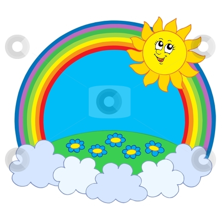 Sun And Meadow In Rainbow Stock Vector Clipart Sun And Meadow In