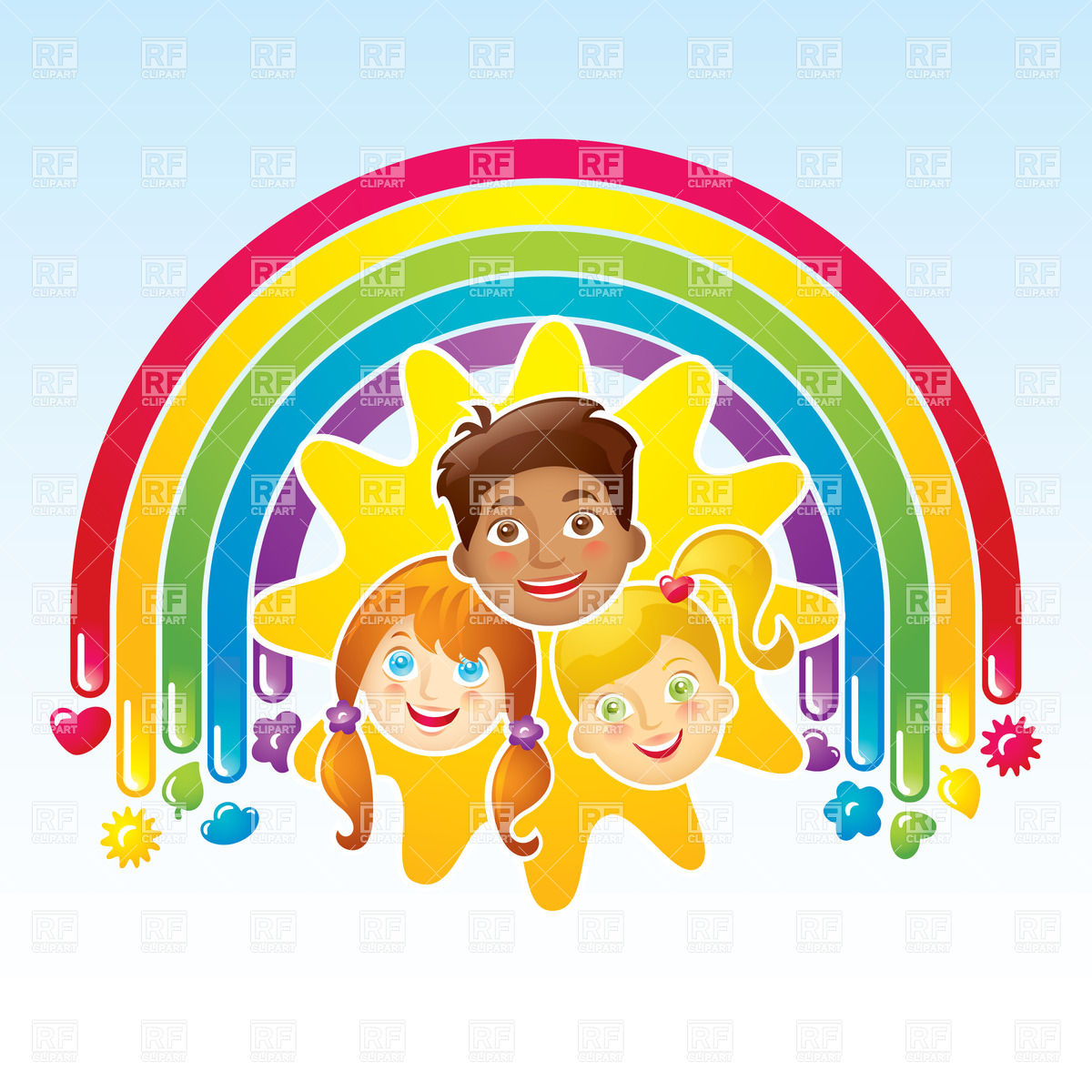 Three Happy Children In A Rainbow And The Sun 17443 People Download