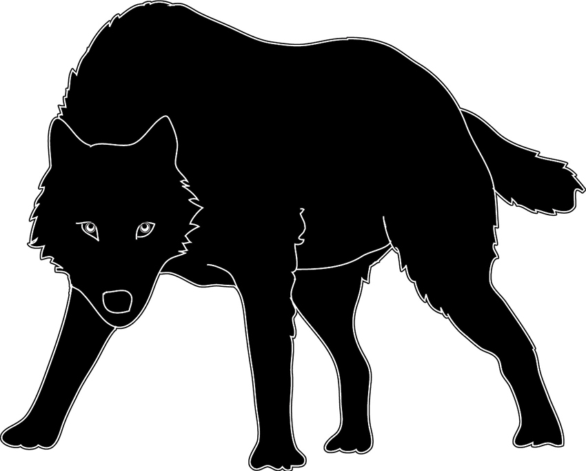 Animal Silhouette Of Standing Wolf Black Wolf Silhouette