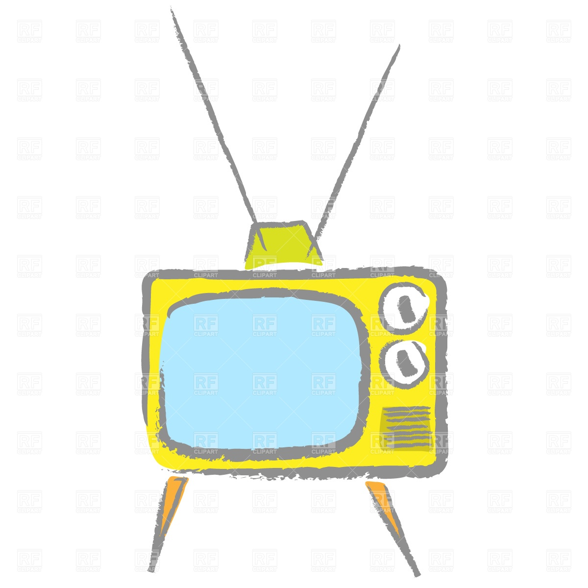 Cartoon Retro Tv Set With Antenna 812 Objects Download Royalty Free