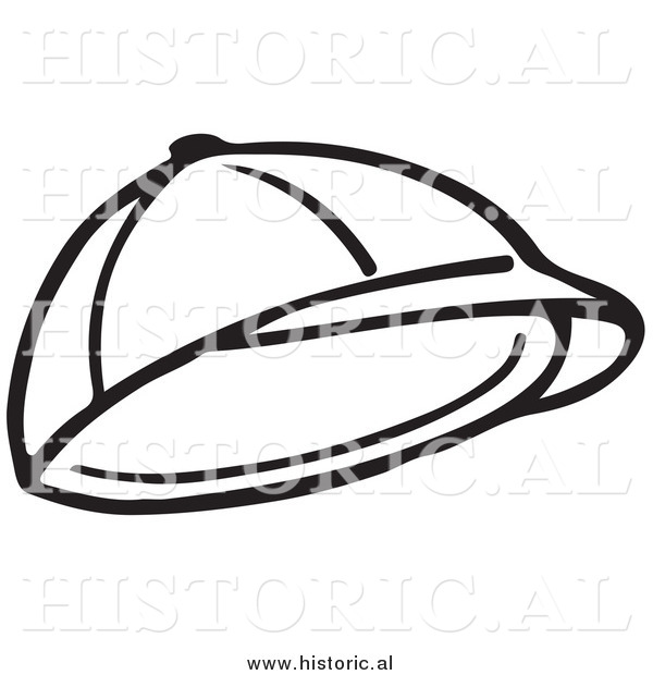 Clipart Of A Child S Hat   Black And White Line Drawing By Al    9300