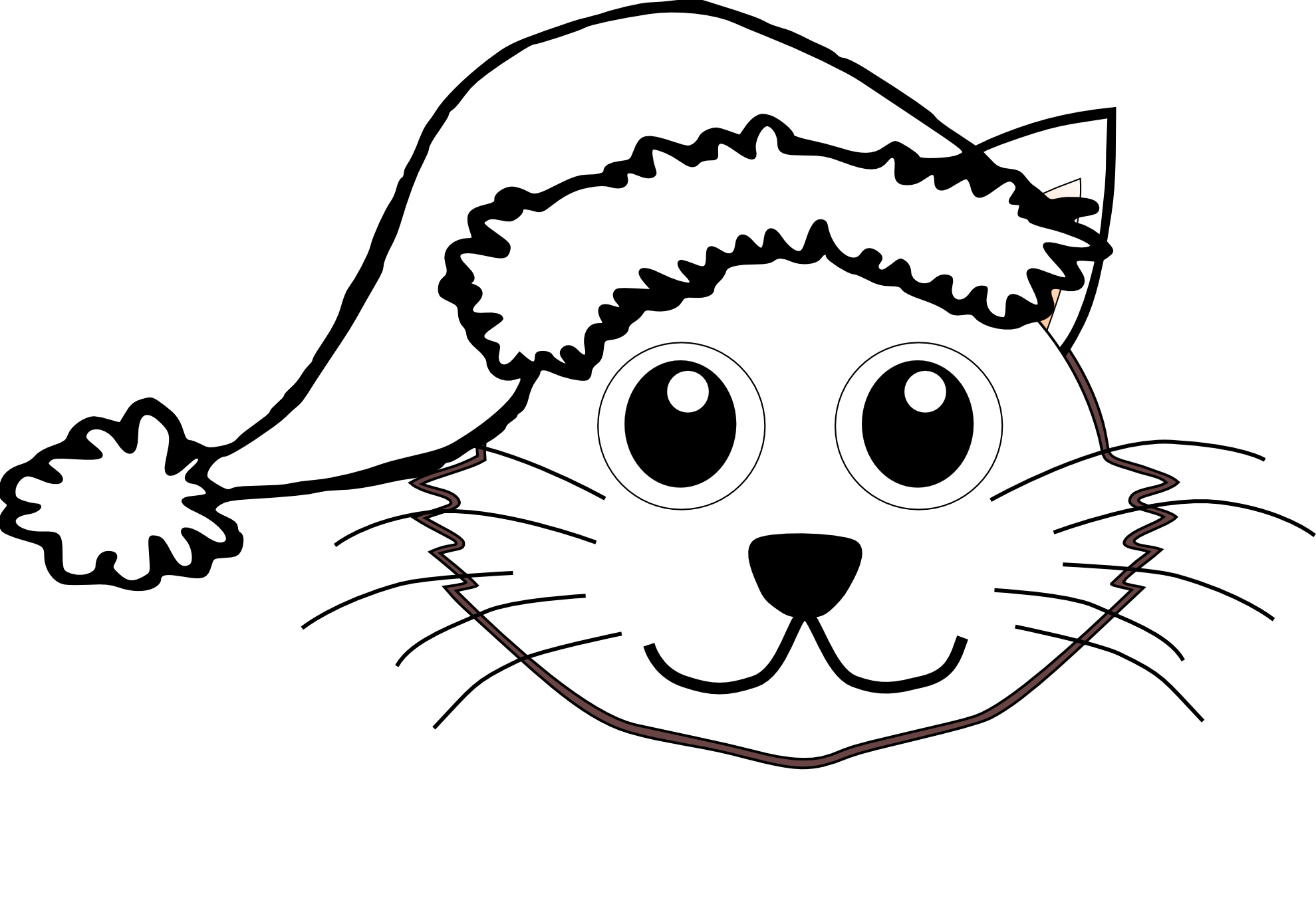 Clipartist Cat Face Cartoon Santa Hat Black White Line Svg