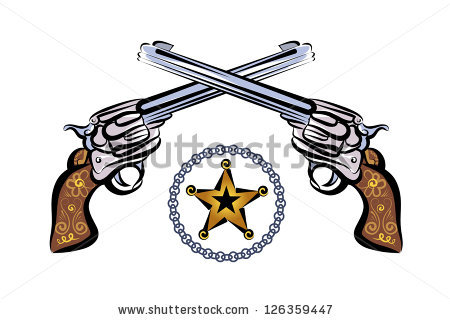 Crossed Western Pistols Clipart Two Revolver In Style Of The
