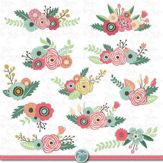 Flowers Clipart Pack Flower Clip Art Packvintage Flowersspring