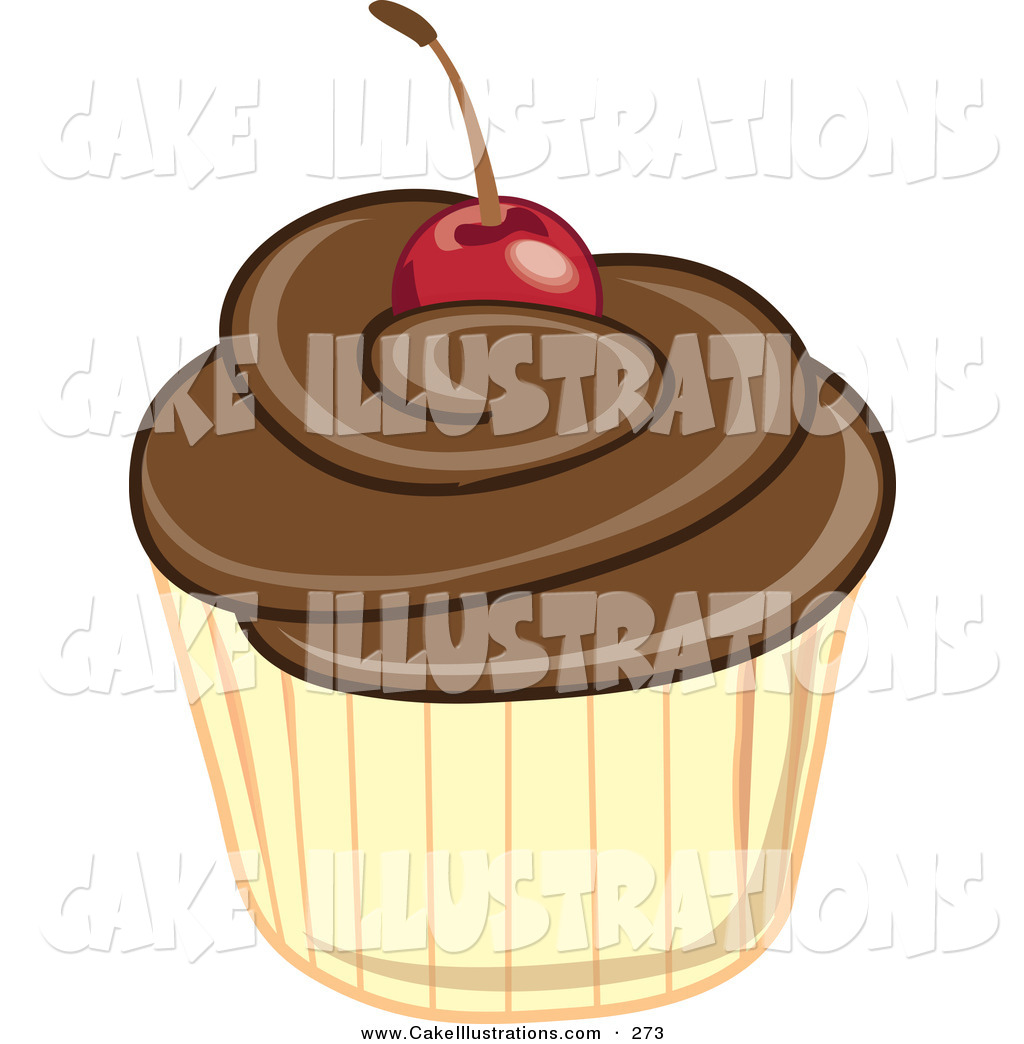 Cherry Topped Cupcake With Chocolate Frosting By Pams Clipart    273