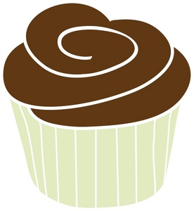 Chocolate Cupcake Clipart Image  A Chocolate Cupcake In A Green Baking
